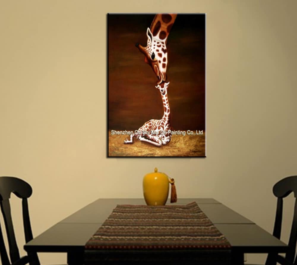 Oil Painting on Canvas Giraffe Mother And Baby Wall Art 100 ...