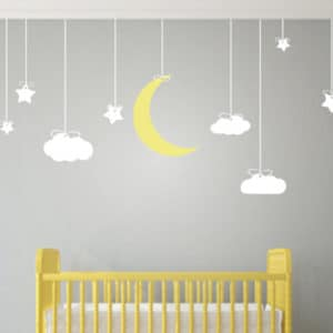 190X78cm Hanging Stars And Moon Clouds Wall Art Stickers  Removable Wall  Stickers For Kids Room Nursery Baby Wall Art Mural D856