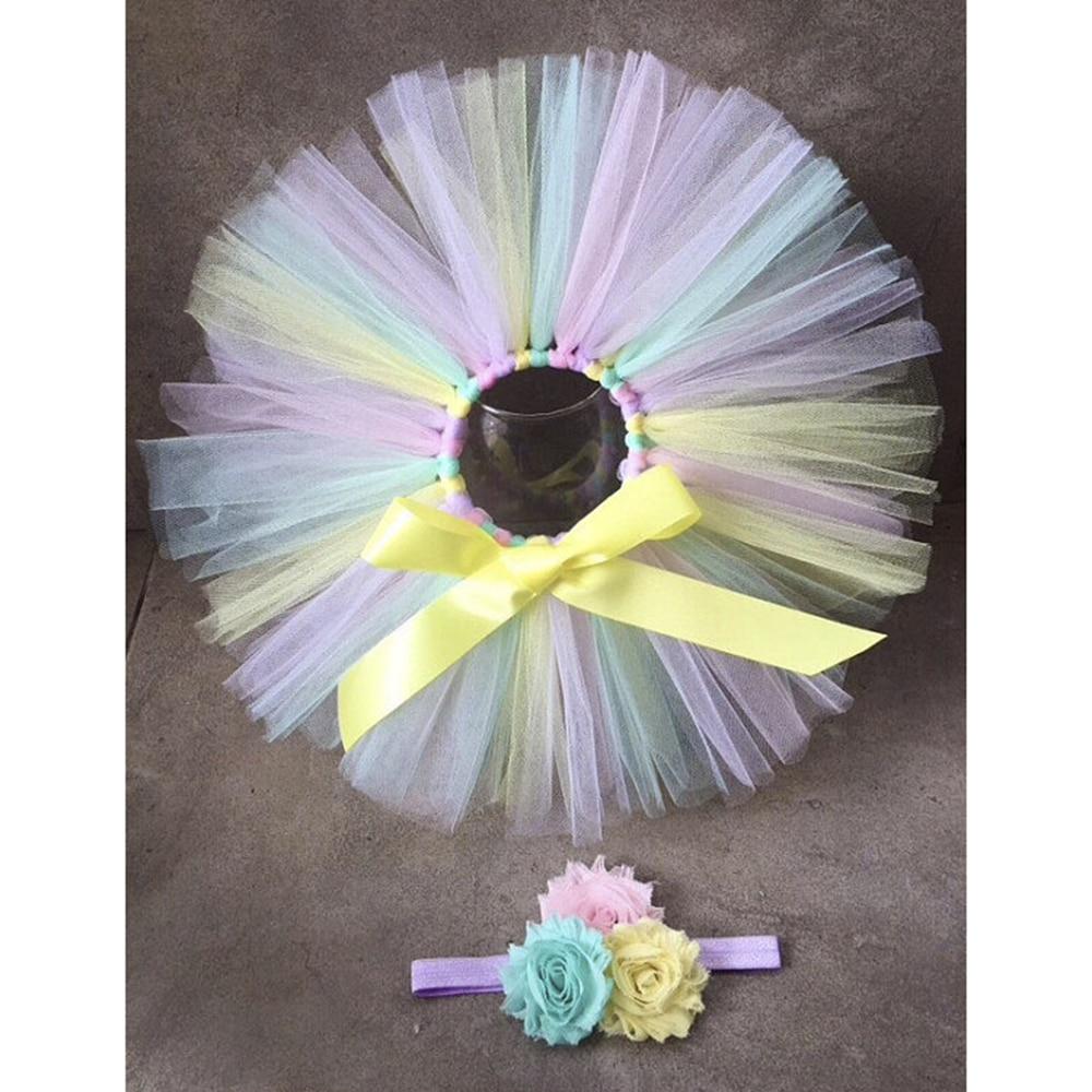 76c5c26edda6f 2 Piece Pastel Baby Girl Rainbow Tulle tutu Skirt Multi Color Toddler 1st  Birthday Party Tutu Skirts with Headband For Photos