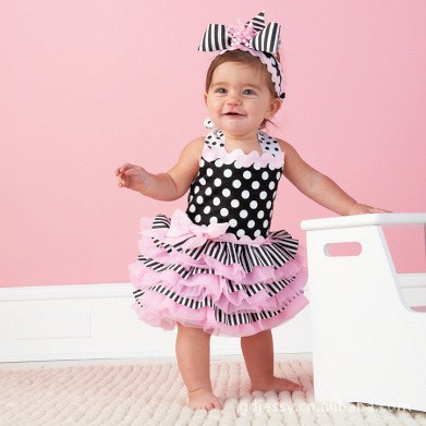 2015 Baby girls summer style dress baby clothing birthday party vestidos infantil newborn robe dots lace tutu dress