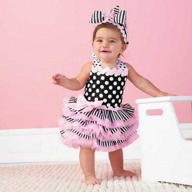 2015 Baby girls summer style dress baby clothing birthday party vestidos infantil newborn robe dots lace tutu dress