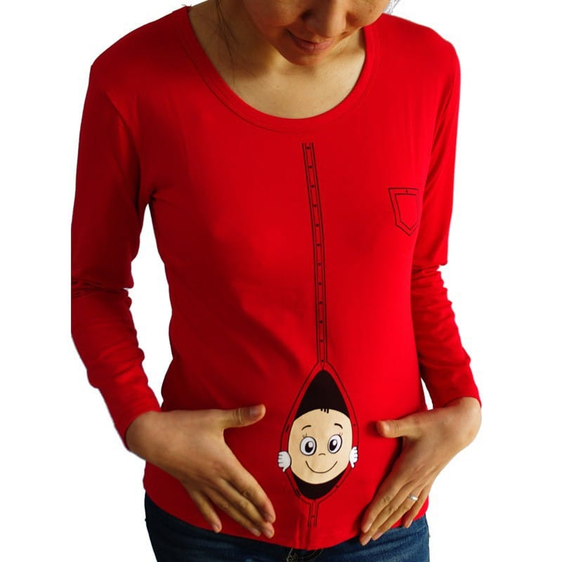 maternity shirts 2015 new pregnant maternity t shirts casual pregnancy maternity clothes with baby peeking out funny maternity shirts 100 cotton - Christmas Maternity Shirts