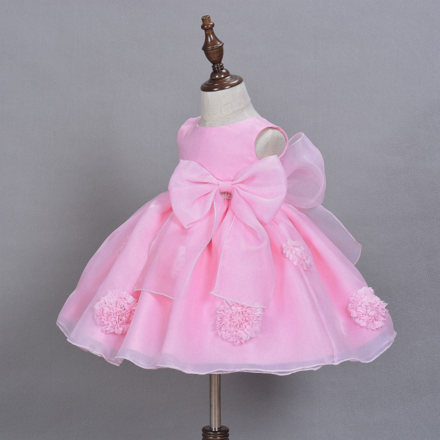 2016 New Hot Sell Pink Baby Girls Dress 3D Flower Applique Tutu Baby ...
