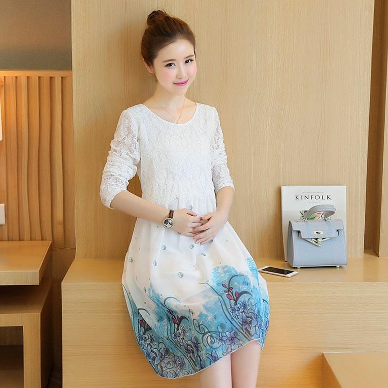 bdf24cdb84a41 2017 Autumn New Maternity Dresses Cute White Chiffon Lace Stitching  Pregnant Dress Women Clothes Pregnancy Dress Long Sleeve