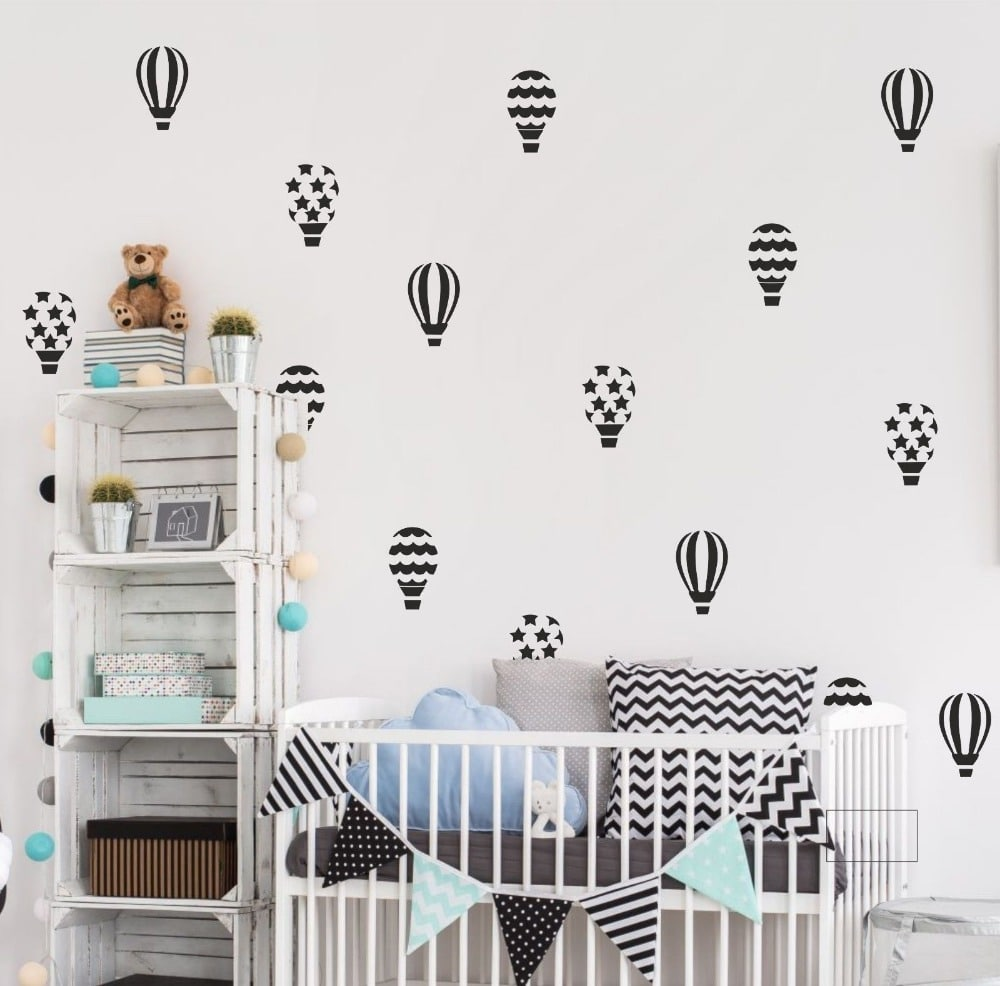 30pcsset Hot Air Balloon Wall Stickers For Kids Room Girls Bedroom