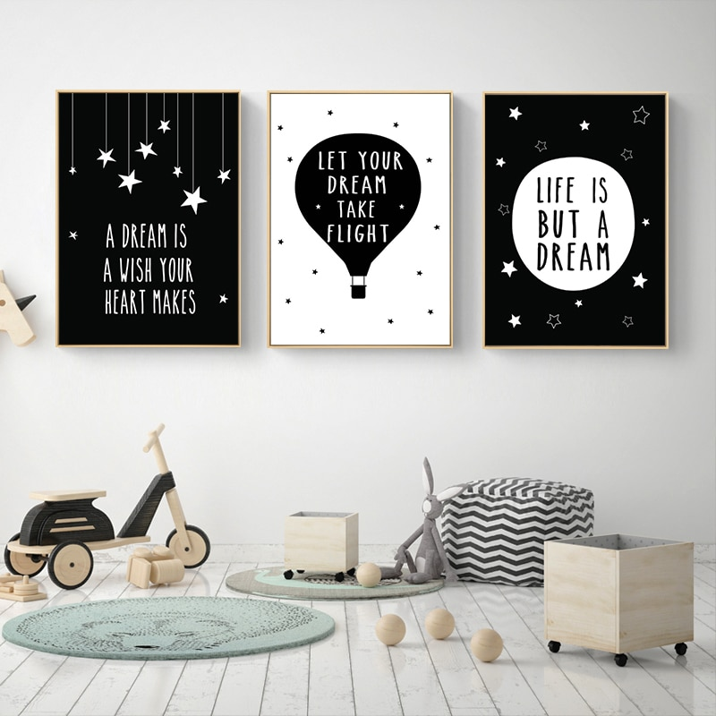 Cartoon Motivational Quote Posters And Prints Black White Canvas Art  Painting Wall Art Pictures Baby Kids Living Room Home Decor