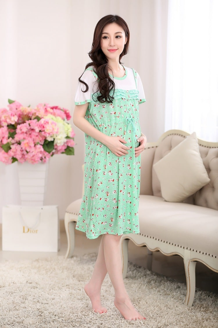 Cotton Maternity Dresses Blouses Shirts Clothing Pregnant Dress Top ...